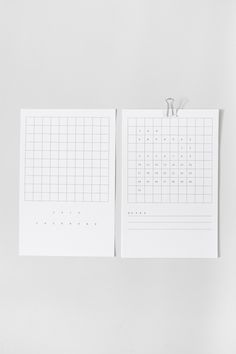 2016 Grid Desk Calendar by Lille Mous. Features note section and mini white binder clip for easy hanging.  January - December 2016 Printed on 5.5