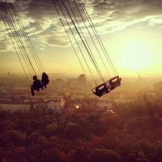 Swings over Vienna at Prater Park. Terrifying but incredible views over the city! Xo, LisaPriceInc.