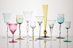 Group of wine glasses Designed Harry Powell Whitefriars