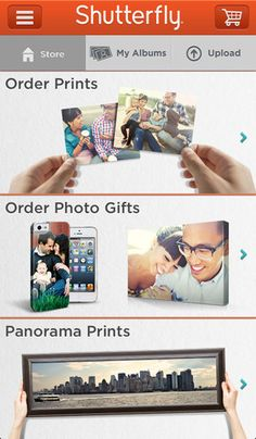 Shutterfly for iPhone.  • Create and order prints and photo gifts with your iPhone, Facebook, Instagram and Shutterfly photos  • Easiest way to upload iPhone photos to Shutterfly  • View your Shutterfly pictures anywhere, anytime  • Share photos by email, and post photos to your Share site or Facebook  • Safe and secure checkout
