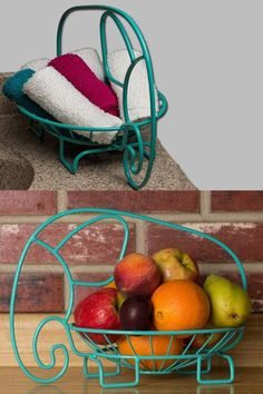 Aqua Colored Fruit Bowl - Cute Elephant Design!