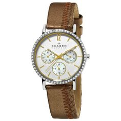 Skagen Women's 921SSLD1 Steel Mother-Of-Pearl Chronograph Dial Watch Skagen. $59.51. Brown leather strap. Mother-of-pearl chronograph dial. Stainless steel case. Water-resistant to 30 M (100 feet). Quartz movement. Save 57%!