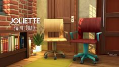 """MALLORCA & JOLIETTE CHAIRS – by amoebae  """"Mallorca Folding Wooden Chair (Base Game; 70 colours) – SIMFILESHARE  Joliette Swivel Chair (Base Game; 65 colours) – SIMFILESHARE  """"  """"Credits: With thanks to @peacemaker-ic for his wood texture.  """"  TOU: credit;... #WoodenChair"""