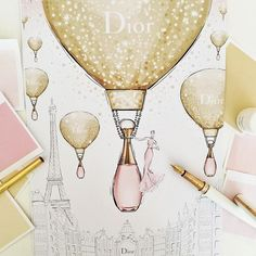 How does @dior deliver all the bottles of the new J'adore Eau Toilette???... In giant golden hot air balloons of course! This beautiful new scent has now landed in stores but don't forget to look up, just incase a golden balloon is flying above... Stay tuned to this time tomorrow to see my illustration come to life in animation!!! #diorjadore #thelightofgold