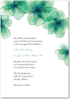 emerald green wedding invitation