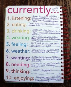 Great journaling list for daily/weekly/monthly documentation.