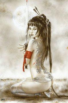 LUIS ROYO ART POSTER ~ SOUM 24x36 Tattoo Samurai Sword Print Fantasy