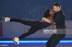 Vanessa James and Morgan Cipres of France perform in the gala exhibition during the day 4 of the ISU World Team Trophy 2017 on April 23 2017 in Tokyo. Vanessa James Morgan Cipres, Pairs Figure Skating, Love On Ice, Biracial Couples, Interacial Couples, Olympic Sports, Interracial Love, Cute Relationships, Black Love