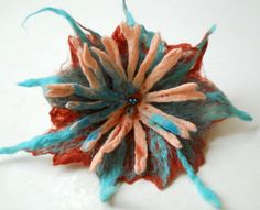 Felted Brooch felt nuno flower nunofelt silk by FeltNunoFelted, $27.00
