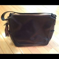 Dark Brown Leather Handbag With Tassel