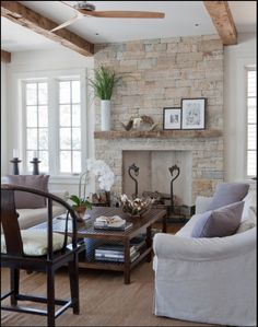 lovely sitting room, stone fireplace