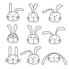 """Buy the royalty-free Stock vector """"Hand Drawn Bunny Cute Characters Set."""" online ✓ All rights included ✓ High resolution vector fil. Art Drawings For Kids, Drawing For Kids, Cartoon Drawings, Easy Drawings, Art For Kids, Simple Animal Drawings, Easy Bunny Drawing, Rabbit Cartoon Drawing, Kid Styles"""