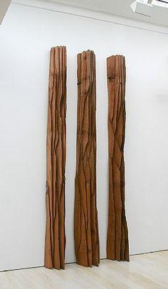artnet Galleries: Three Red Columns: Deepcut by David Nash from Annely Juda Fine Art