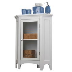 Essential Home Furnishings Classique White Wood/Clear Glass Corner Floor Cabinet  sc 1 st  Pinterest : corner storage cabinet bathroom - Cheerinfomania.Com