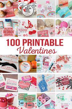 DIY Printable Valentines   Printables Valentines for school, teachers, friends, family, kids, and spouses.  So many Valentine printables in one place! via @craftingchicks
