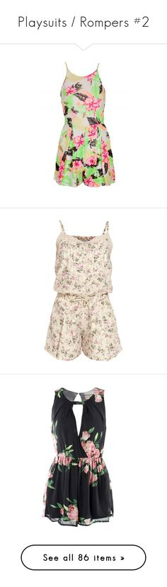 """""""Playsuits / Rompers #2"""" by pretty-fashion-designs ❤ liked on Polyvore featuring jumpsuits, rompers, playsuit, romper, white rompers, white romper, playsuit romper, flower print romper, floral rompers and pink rompers"""