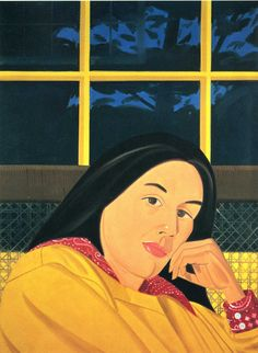 Alex Katz's paintings are usually large scale, carefully composed and seemingly quickly painted in flat colors. The effect is somewhat nostalgic, a distillation of a moment of simple joy. Shown here is one of his favorite subjects, his wife, Ada.