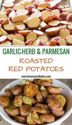Garlic-Herb & Parmesan Roasted Red Potatoes - The BEST roasted red potato recipe! I use it all the time! Red Potato Recipes, Spicy Recipes, Pork Recipes, Asian Recipes, Mexican Food Recipes, Vegetarian Recipes, Cooking Recipes, Healthy Recipes, Cooking Tips