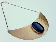 Onyx Bib Necklace, Hammered Copper Collar Necklace, Crystal Bib Necklace, Crystal Statement Necklace, Gold Crescent Moon Choker