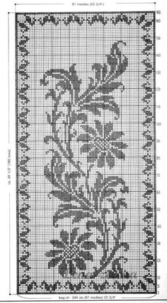 New Crochet Edging Tablecloth Table Runners Ideas Filet Crochet Charts, Crochet Diagram, Crochet Motif, Crochet Doilies, Crochet Stitches, Crochet Cross, Cross Stitching, Cross Stitch Embroidery, Embroidery Patterns