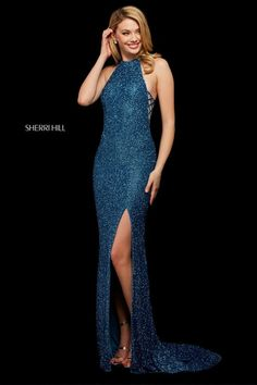 Dare to be different and wear this exquisite Sherri Hill long dress 53131 to your next social occasion. This dazzling gown is fully beaded and showcases. Sherri Hill Prom Dresses, Homecoming Dresses, Sexy Dresses, Fashion Dresses, Fitted Dresses, Dressy Dresses, 80s Fashion, Club Dresses, Elegant Dresses
