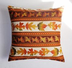 Handmade AUTUMN Throw Pillow Cover Autumn Leaf Stripe Accent