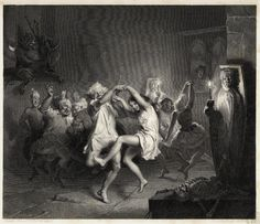 John Faed (1821-1911): Tam o'Shanter and the Witches, Engraving
