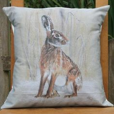 Country Living / Nic Vickery Animal Artist / Winter Hare Cushion Cover