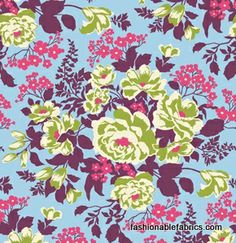 Fabric... Heirloom Rose Bouquet in Sky by Joel Dewberry REMNANT (14.5x44)