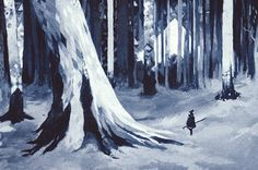 Risograph print by PEOW! studio - The print maintains a watercolour-like appearance. Really like the depth and use of pattern in this print Blue Forest, Character Design Animation, Winter Trees, Silk Screen Printing, Art Background, Art Inspo, New Art, Concept Art, Illustration Art