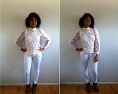 Vintage BlousePink and White Lace Blouse with by LucyRayRetro, $18.00