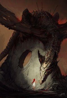 The Girl and the Dragon by Jorge Jacinto #fantasy #dragon #illustration