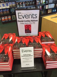 Books on sale at the College Station Barnes and Noble for author David Conley Nelson's hometown book event and signing on March Mormons, University Of Oklahoma, College Station, Book Publishing, Writer, Germany, March, David, Gift Wrapping