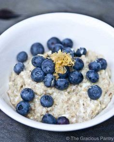 Clean Eating Lemon Blueberry Oatmeal  (Makes 2 servings)  Ingredients:    1 cup steel-cut oats  4 cups water  4 egg whites  1 tablespoon fresh lemon zest (about 1 lemon)  1 cup fresh blueberries  Honey to taste