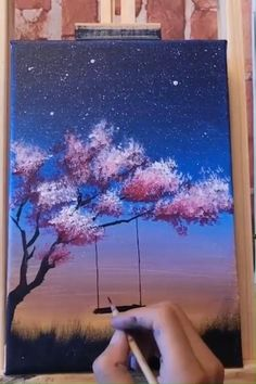 Acrylic Paintings Easy acrylic art on canvas. Colorful acrylic tree painting idea for beginners. Cute Canvas Paintings, Canvas Painting Tutorials, Small Canvas Art, Easy Canvas Painting, Simple Acrylic Paintings, Diy Canvas Art, Acrylic Canvas, Flower Paintings, Canvas Crafts