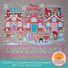 Christmas on Gingerbread Lane PDF Cross Stitch Pattern / The Frosted Pumpkin Stitchery