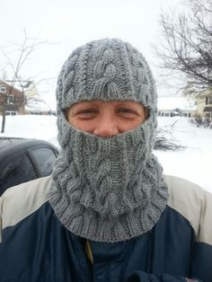 My pattern for a cabled balaclava. Easily converts to neck warmer. Knitting Stitches, Knitting Patterns Free, Knit Patterns, Free Knitting, Crochet For Boys, Knit Or Crochet, Wooly Hats, Knitted Hats, Knitted Balaclava