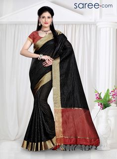 BLACK AND MAROON POLY SILK SAREE WITH WEAVING WORK