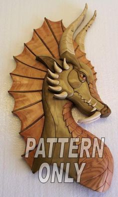Woodworking Patterns Pattern of 'Dragon w/ear' Intarsia by kennbennett on Etsy - Intarsia Woodworking, Woodworking Logo, Woodworking Patterns, Woodworking Techniques, Woodworking Projects Plans, Woodworking Bench, Woodworking Quotes, Youtube Woodworking, Woodworking Equipment