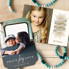Peace Joy Love holiday card by Sarah Curry at minted.com; Vintage Ny New Year's card by Noah and Olivia at minted.com