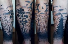 Black ink moon and black forest tattoo on arm