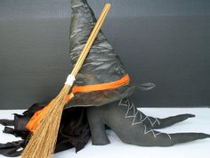 Primitive Halloween Witch Boots Hat Broom by IvanTroyDesigns