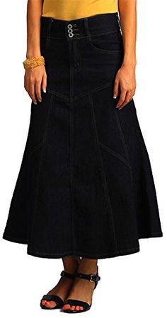 061567b2b77 Tabeez Womens Blue Flaired Denim Maxi Skirt -- Learn more by visiting the  image link