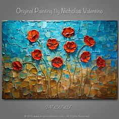 "Large 36""x24""x1.5"" - Original Impasto Texture Painting on Gallery Wrapped Canvas - Abstract - Red Poppies - Ready to Hang - FREE SHIPPING!"