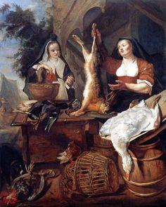 Gabriël Metsu - Vrouw verkoopt gevogelte en wild