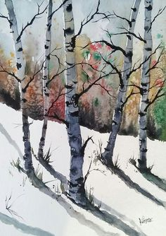 Send to Barb Watercolor Trees, Watercolor Landscape, Landscape Art, Landscape Paintings, Watercolor Paintings, Original Paintings, Tree Paintings, Birch Tree Art, Tree Canvas