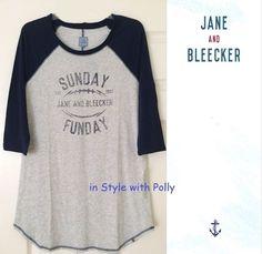 Jane & Bleecker NY Raglan Sleeve Sleep Shirt Sunday Funday Grey Navy SIZE L…