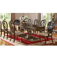 Dorothea Collection Dining Table Chair 9 PC Set in Cherry Finish