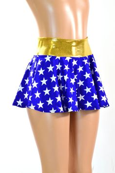 Blue & White Star Print Circle Cut Mini Skirt by CoquetryClothing