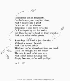 I remember you in fragments... Simply because you've said goodbye.